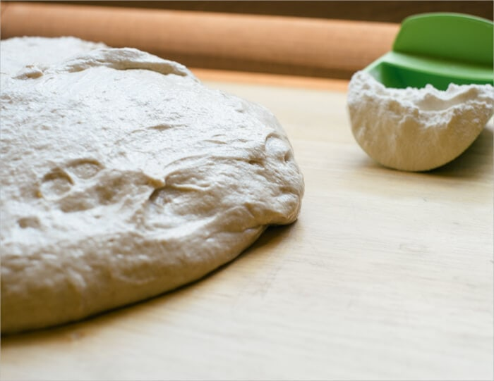 Tartine sourdough on the counter ready for pre-shape