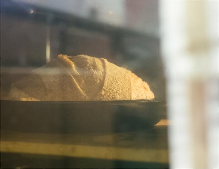 Tartine sourdough baking in Lodge cast iron combo cooker
