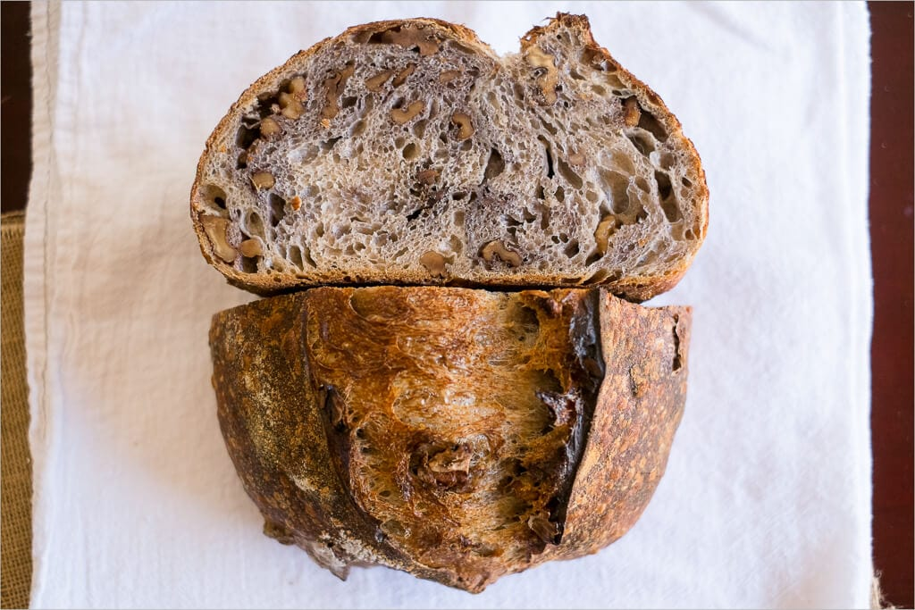 Tartine country walnut sourdough crumb and crust