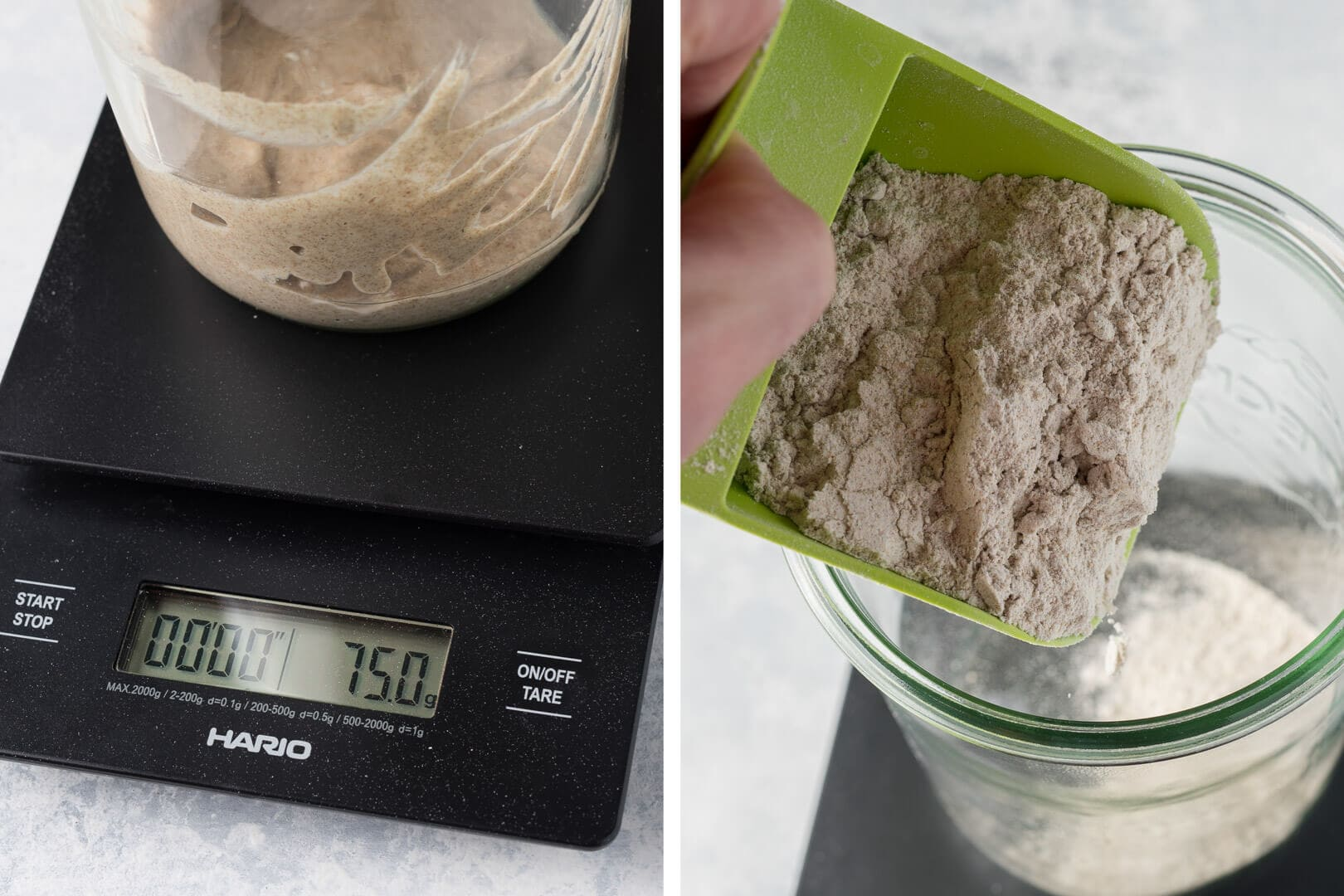 Add flour to your carried over sourdough starter