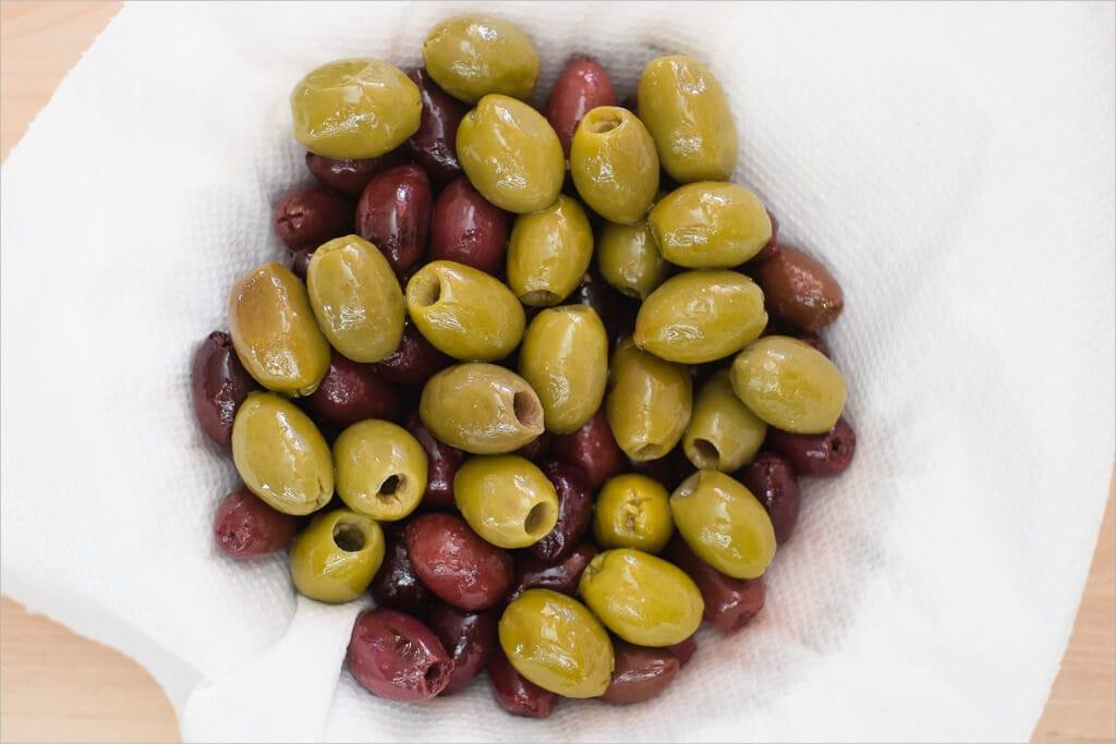 olives, rinsed