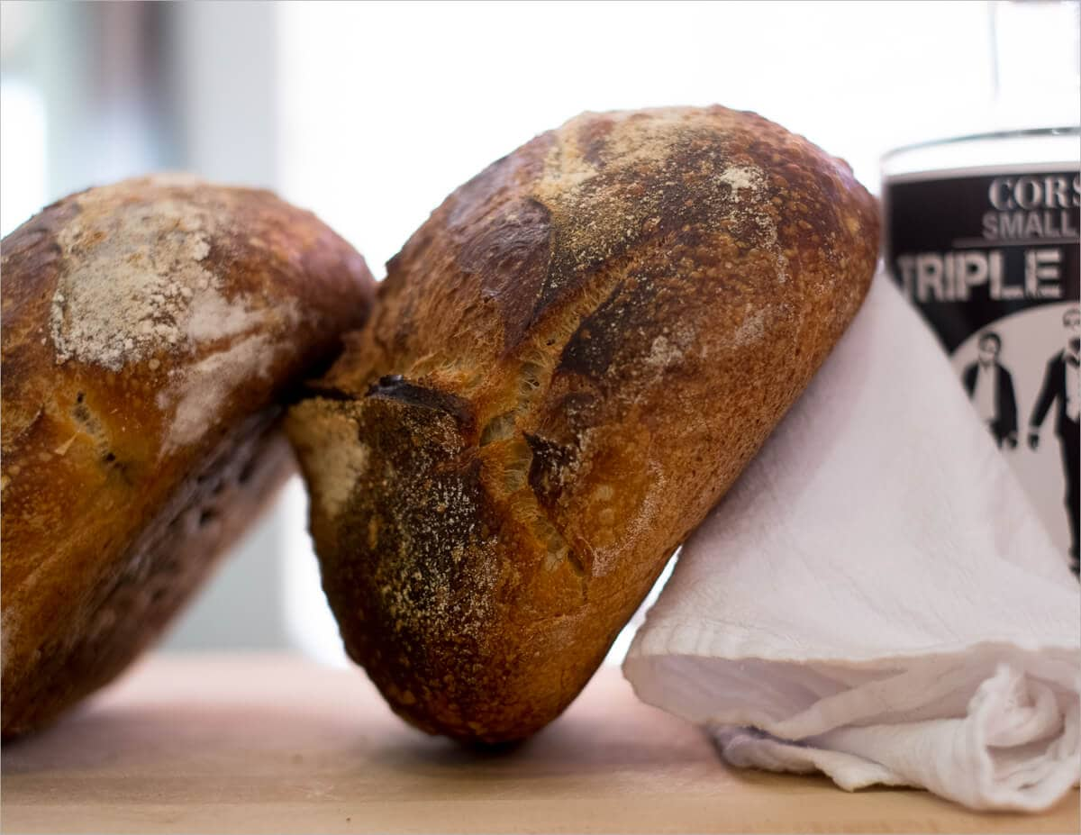 High hydration baked sourdough bread