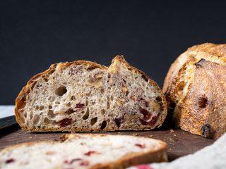 Walnut cranberry sourdough bread