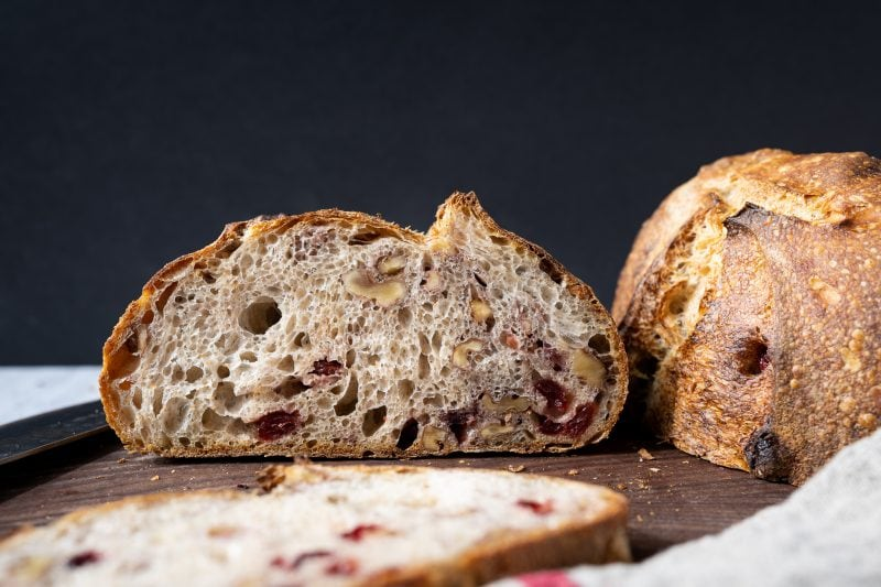 Walnut cranberry sourdough bread