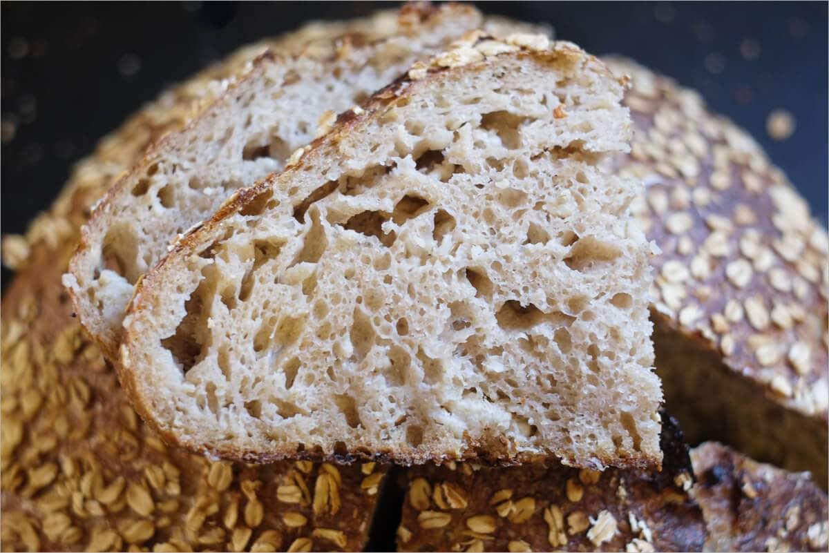 Oat porridge bread attempt #3 crumb