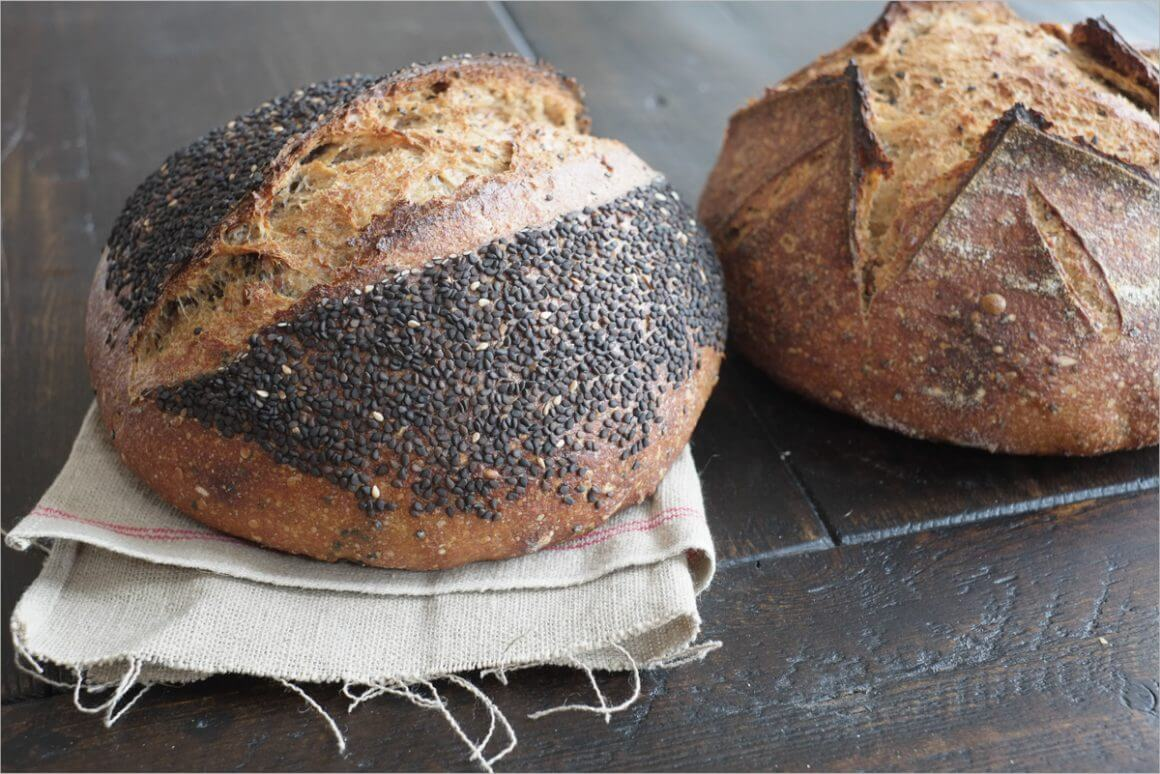 Seeded whole wheat sourdough bread