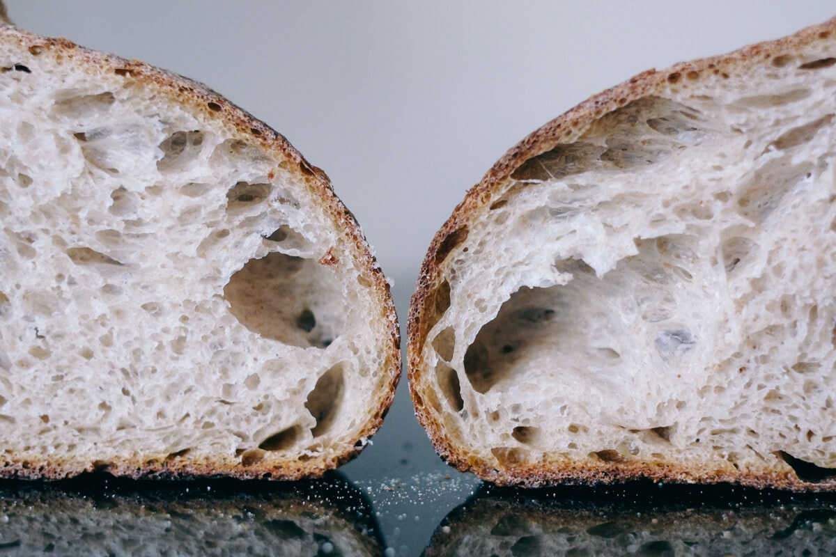 Naturally leavened sourdough with stiff levain