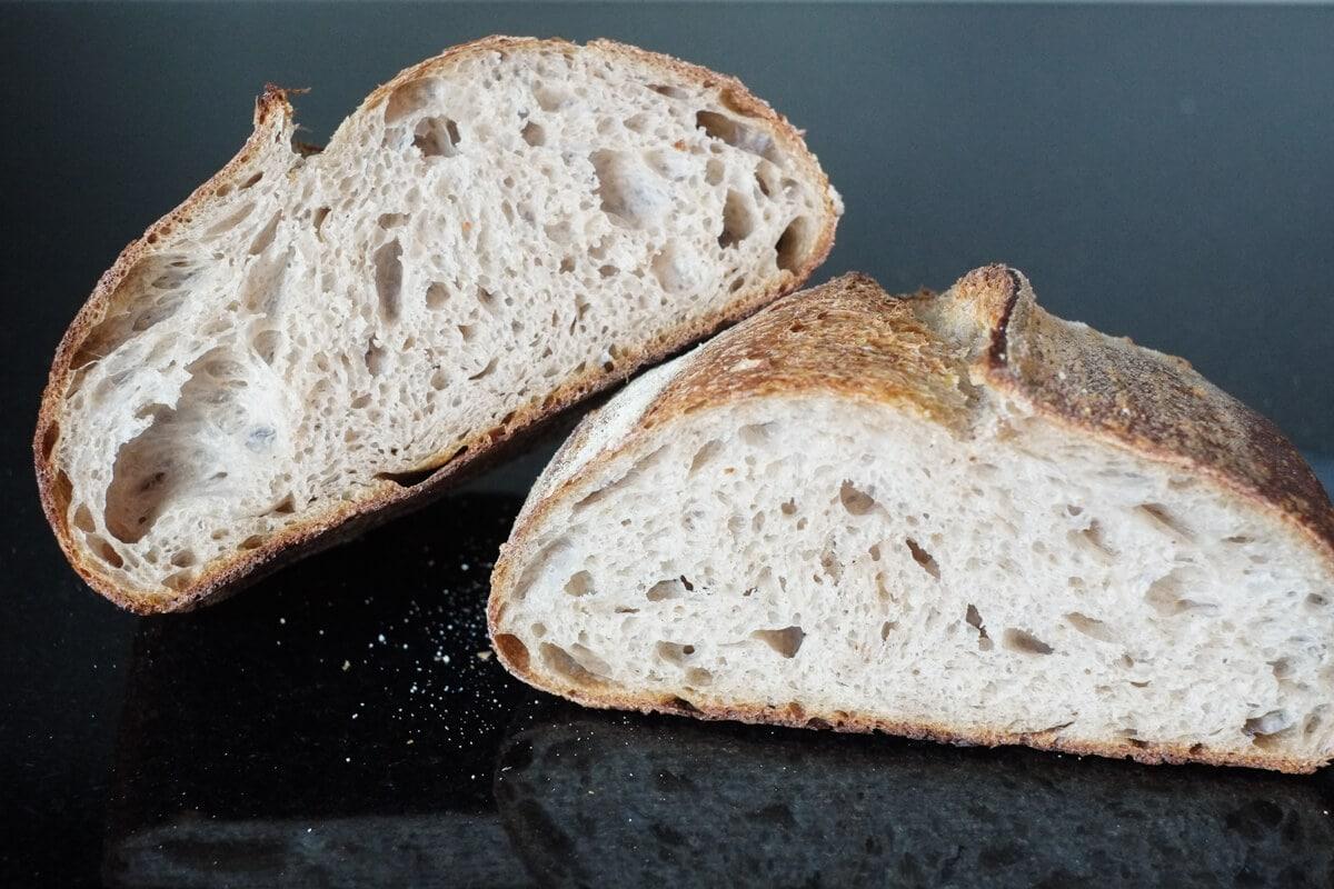 Beautiful open sourdough crumb