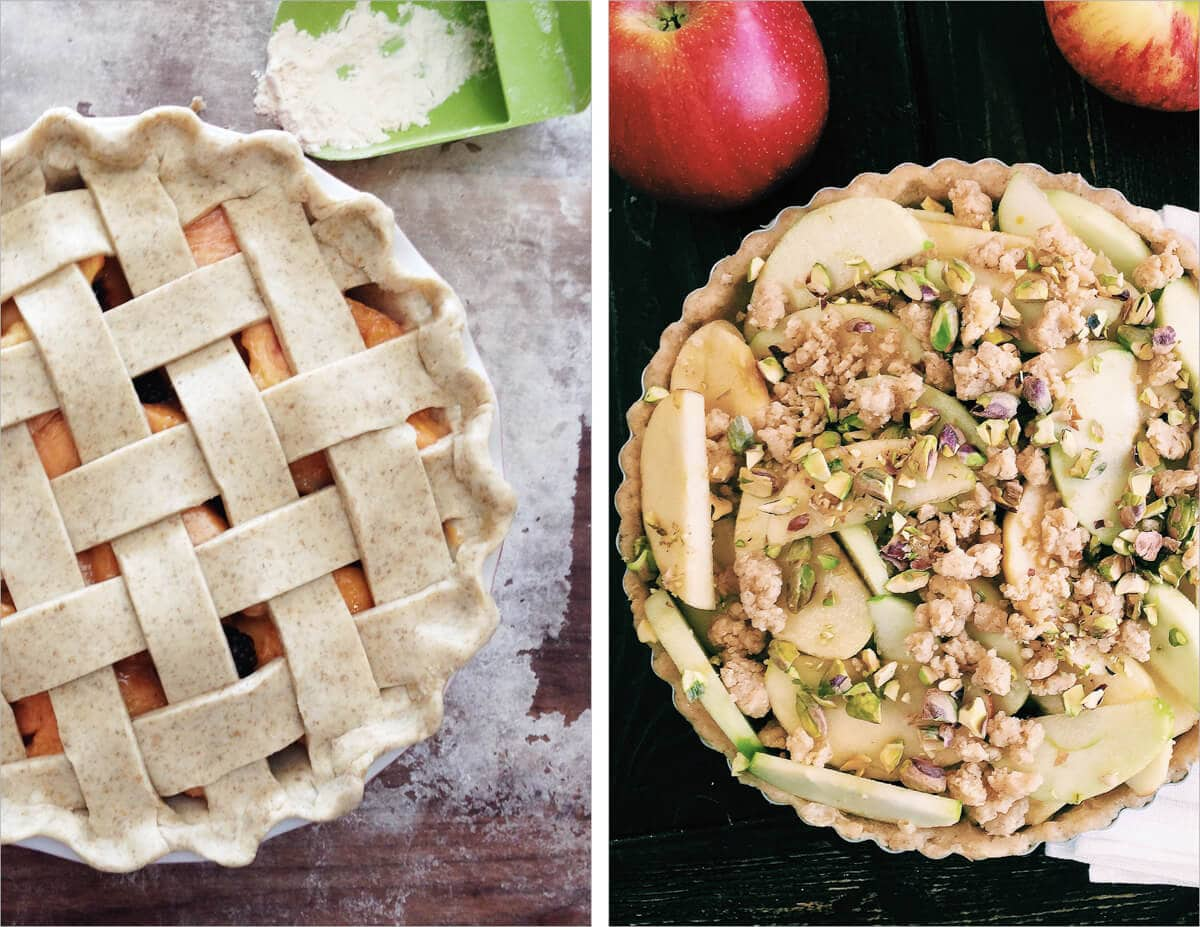 Peach pie and apple pistachio tart