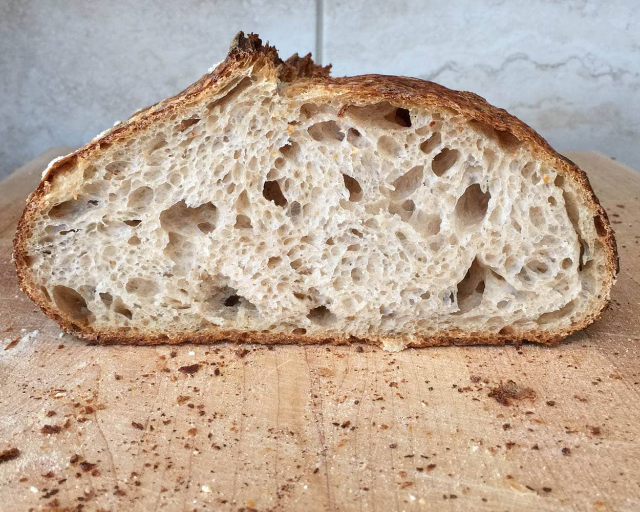 Naturally leavened sourdough, baking with steam in home oven