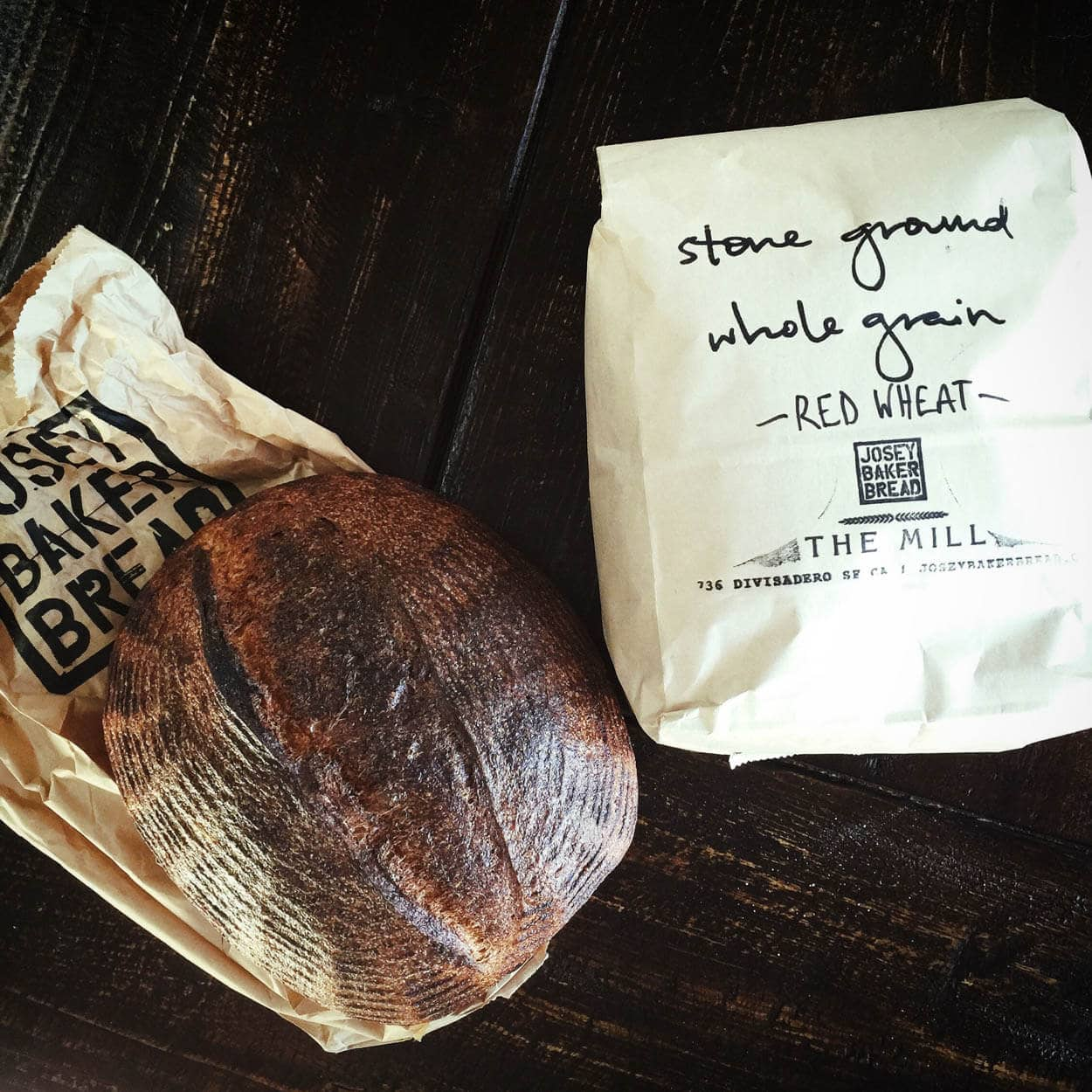 Josey Baker's sourdough and stoneground red wheat