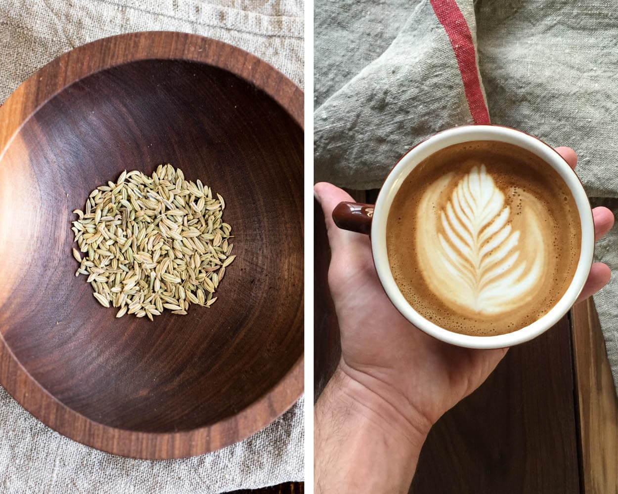 fennel seed and a cappuccino