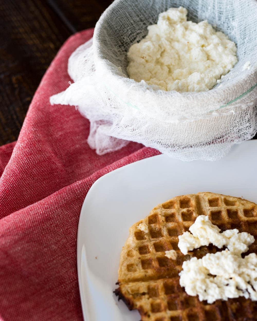 Homemade ricotta and sourdough waffles