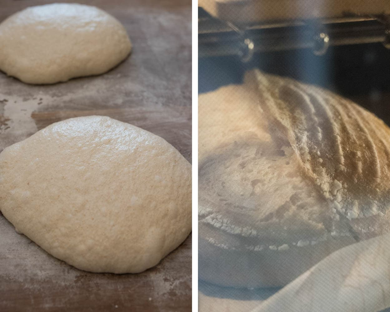 white sonora sourdough shaped and baking