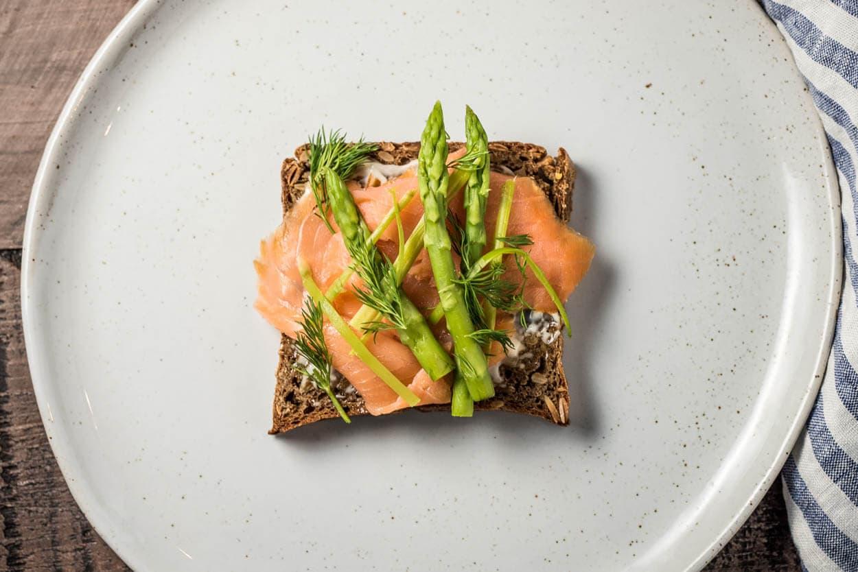 rye sourdough and salmon smorrebrod