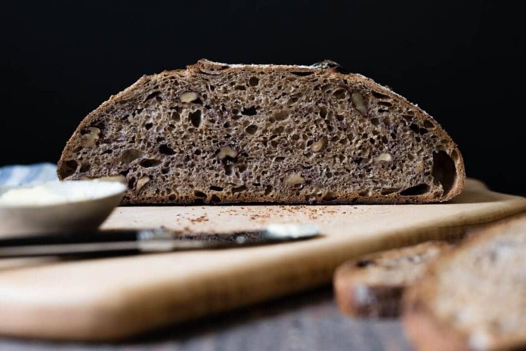 fresh milled whole wheat walnut sourdough