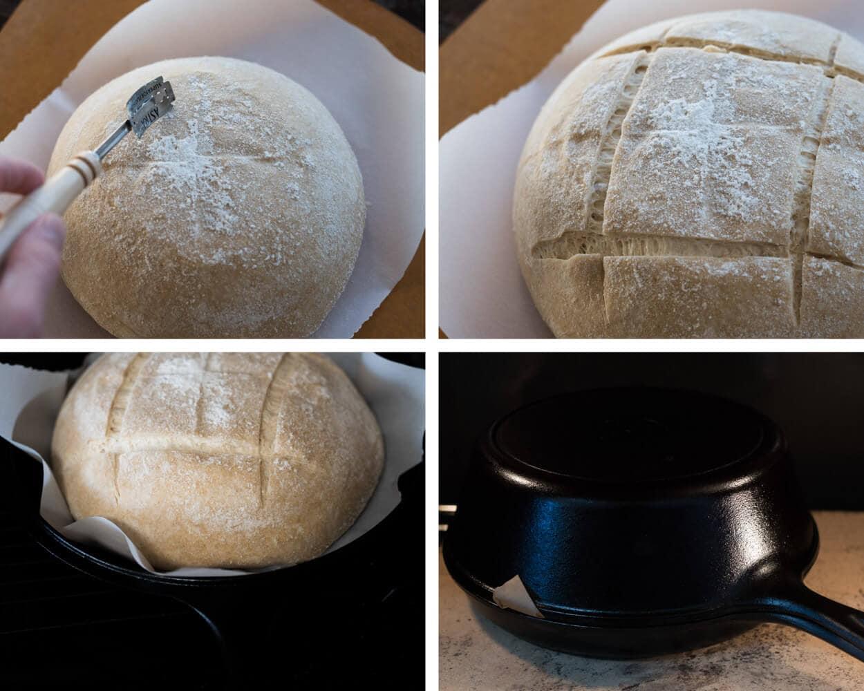 scoring my beginner's sourdough bread