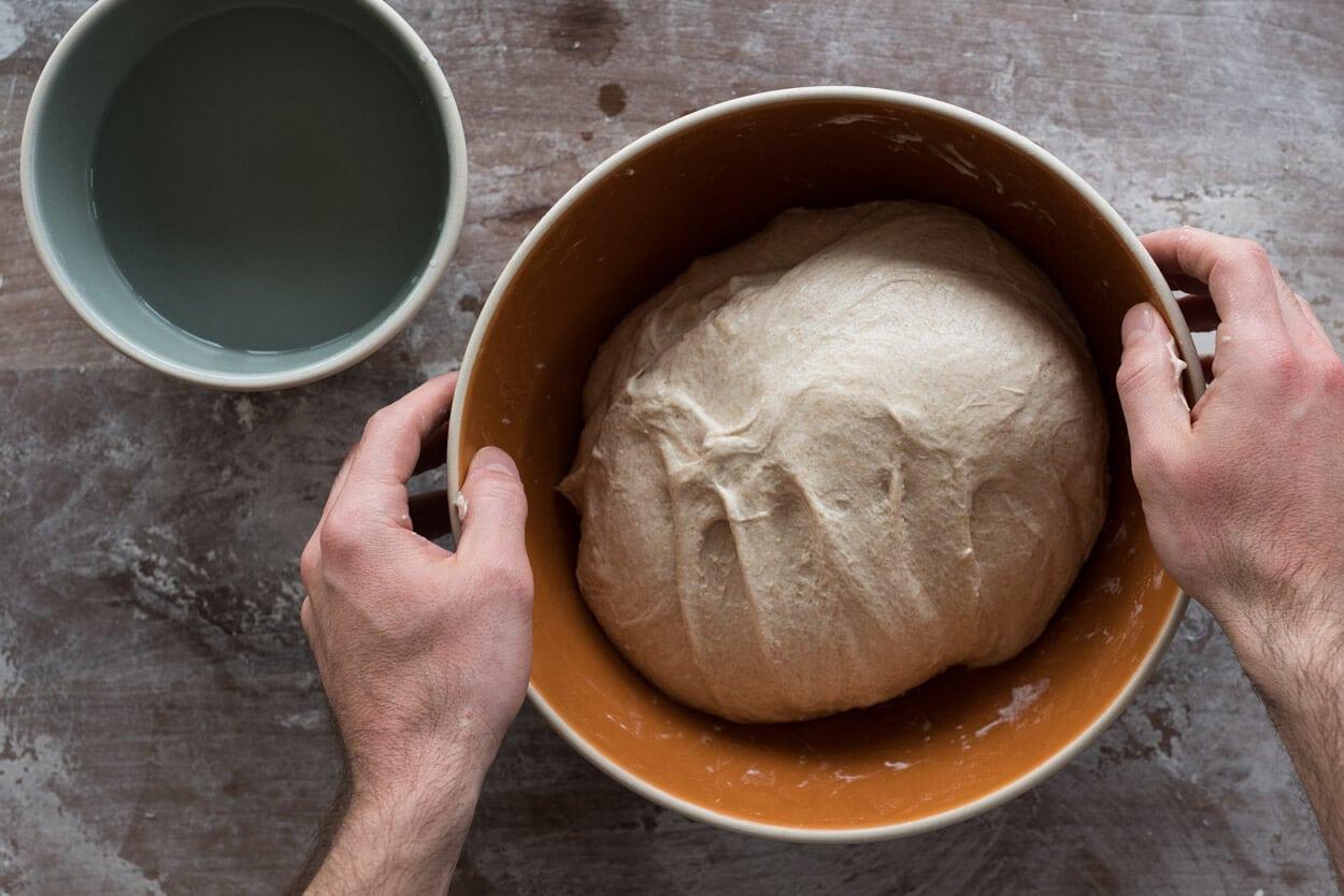 beginners sourdough bread in bowl ready for bulk fermentation
