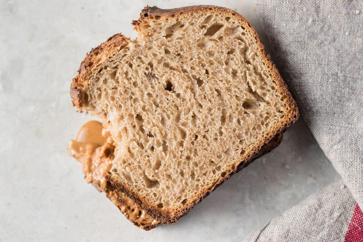 PB & J on sourdough sandwich bread