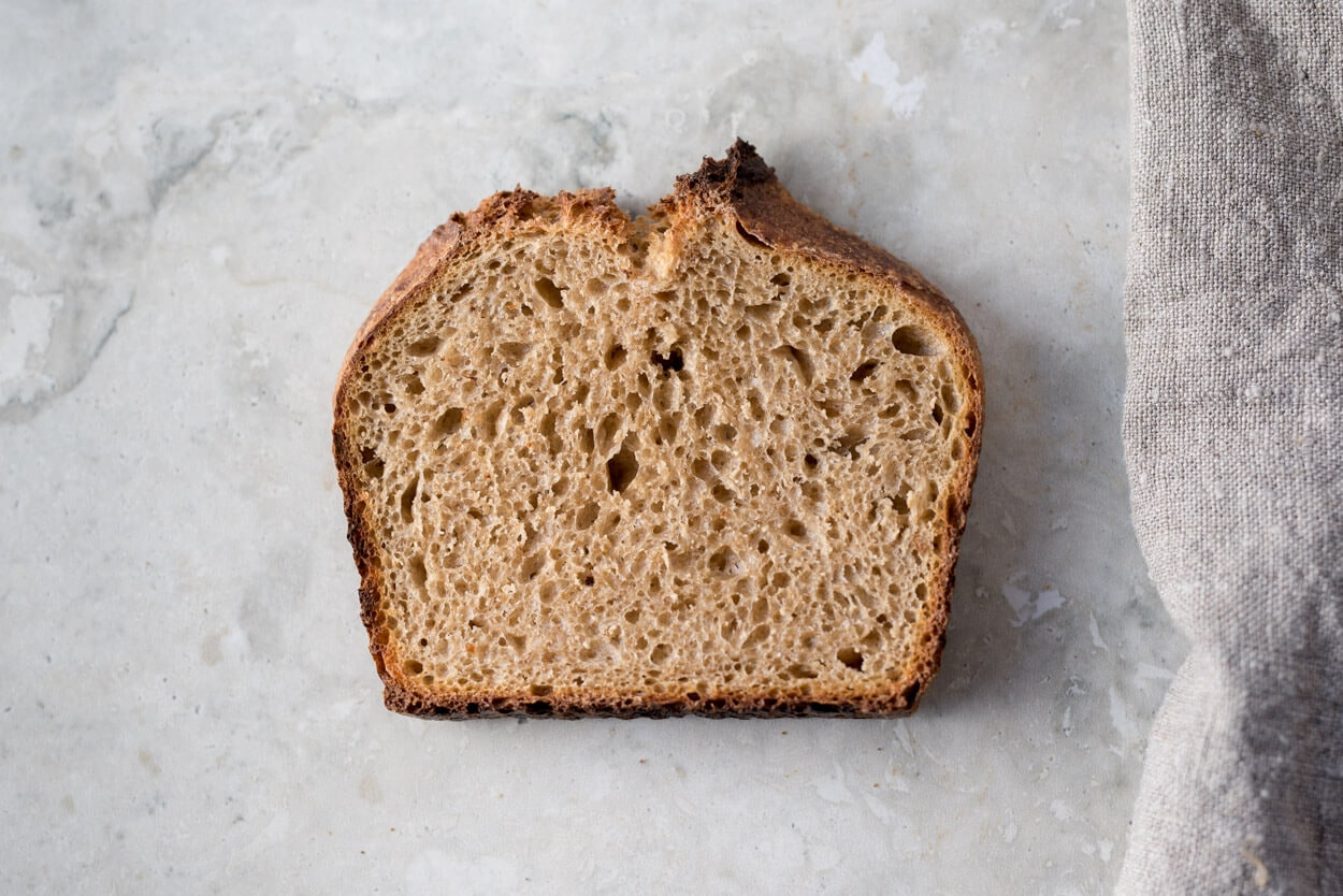 whole wheat sourdough sandwich bread crumb