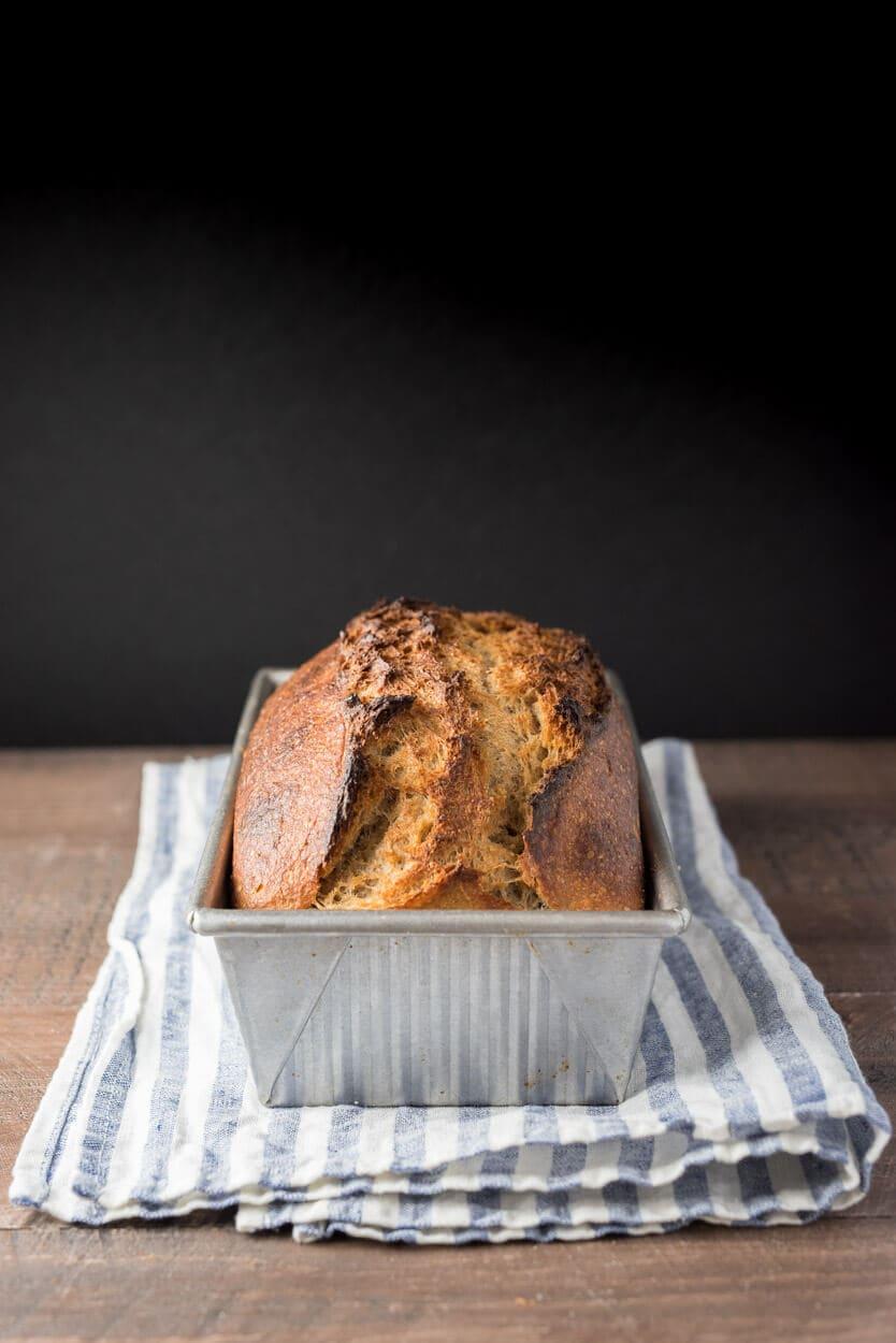 whole wheat sourdough sandwich bread in pan