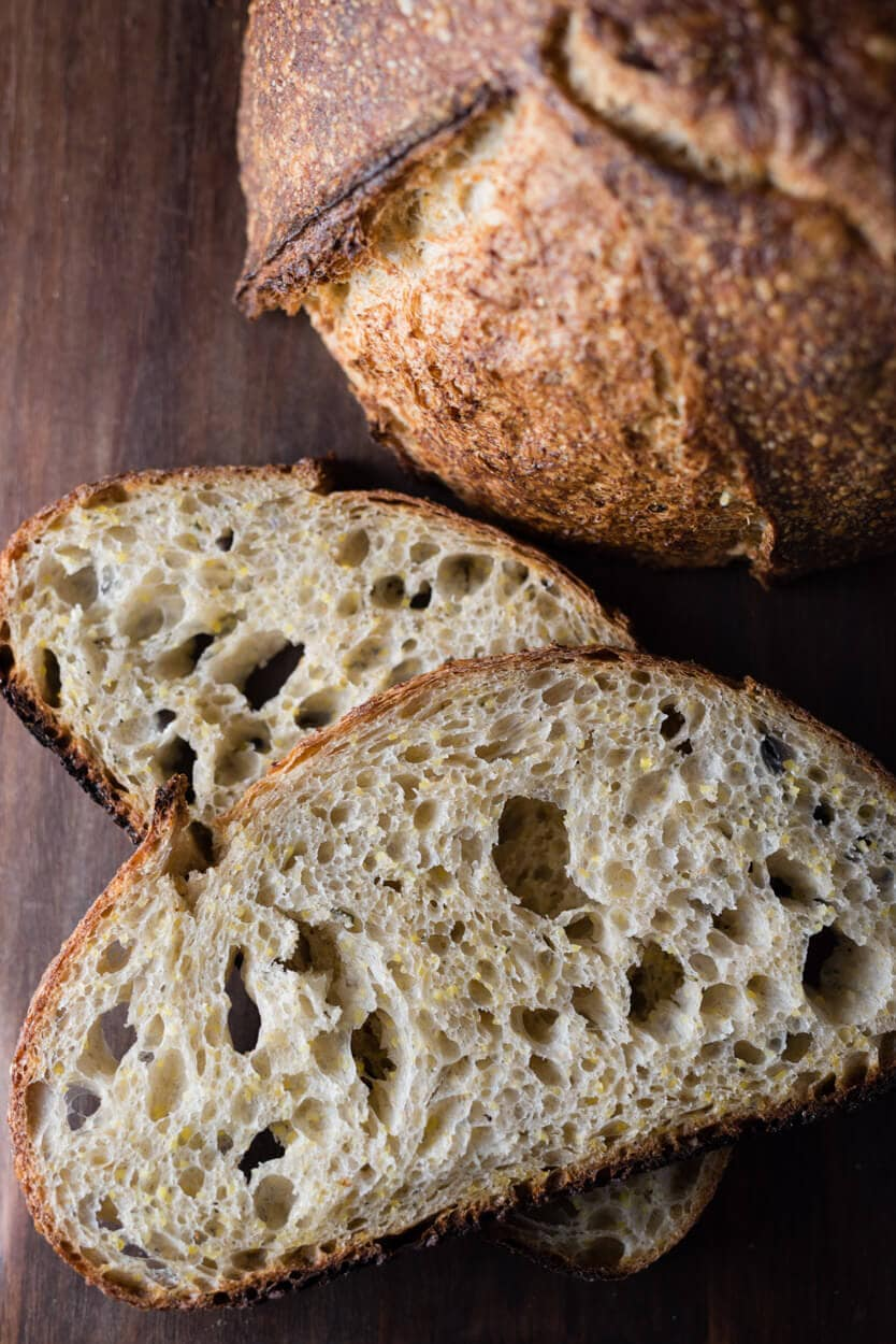 polenta and rosemary sourdough crumb