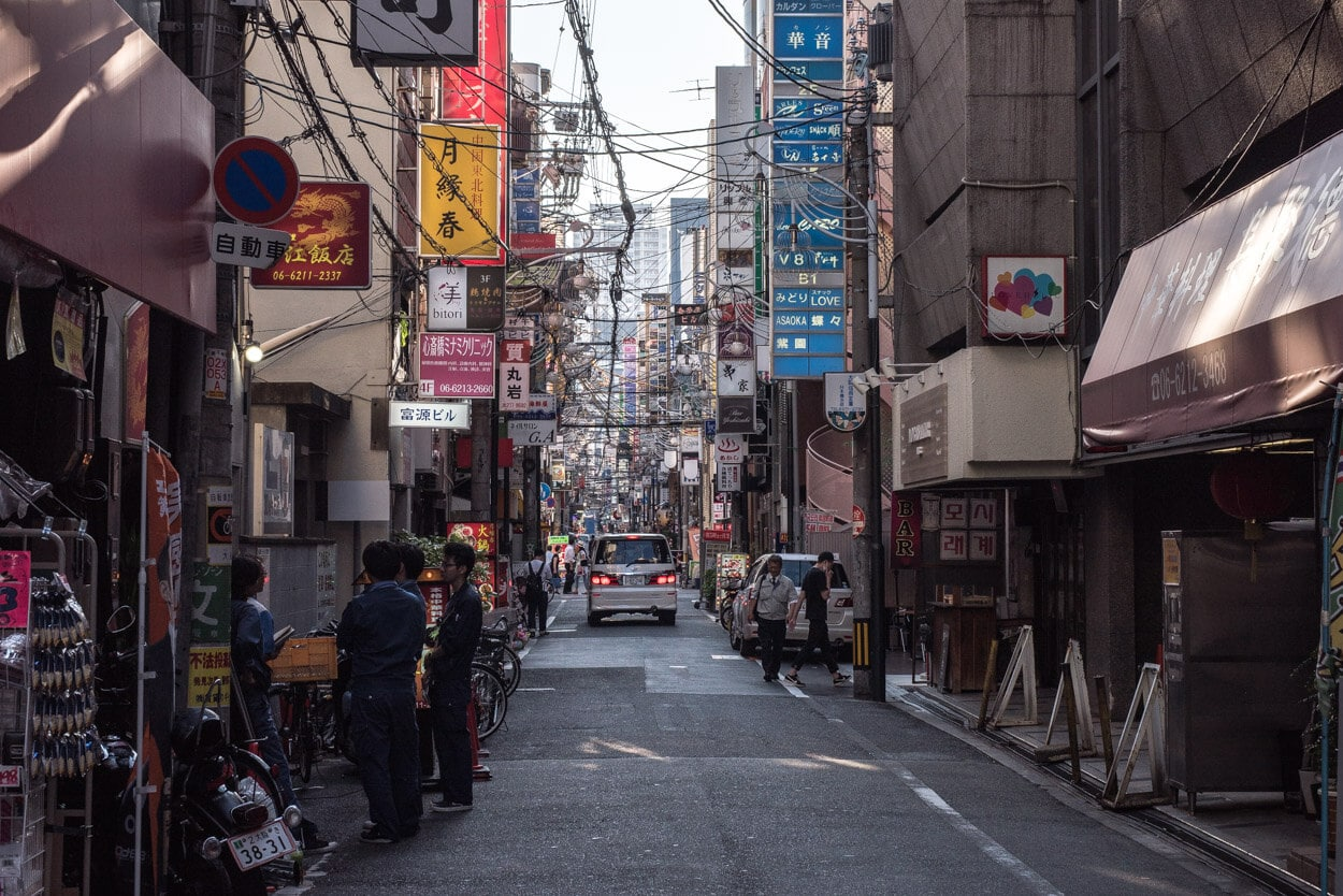 Busy streets of Osaka while traveling Japan