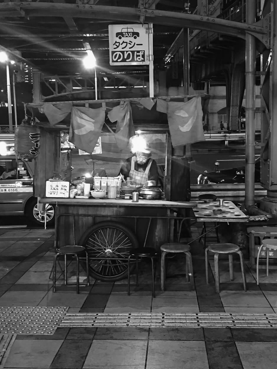 Food vendor at Suidobashi Station while traveling Japan