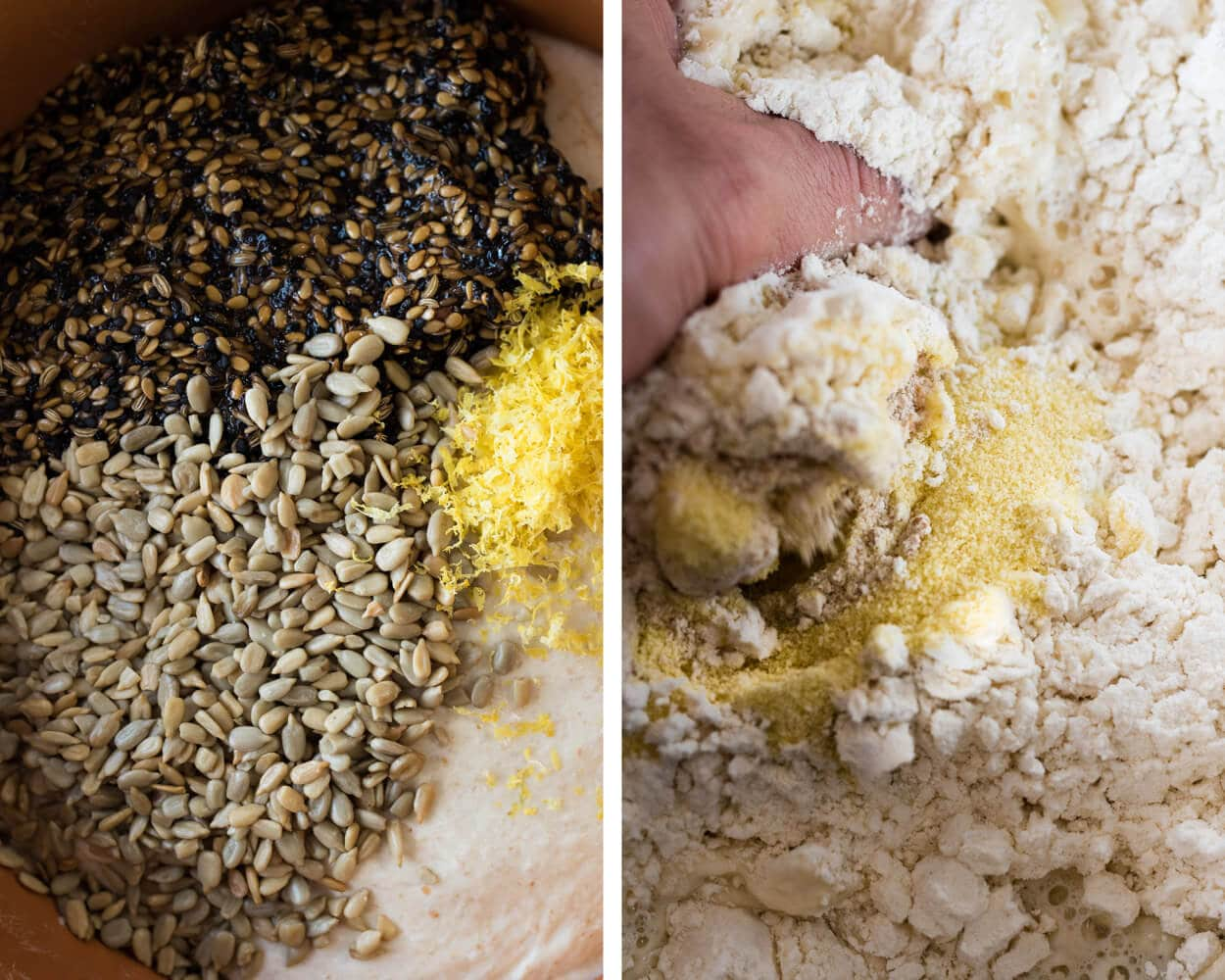seeded sourdough mixing
