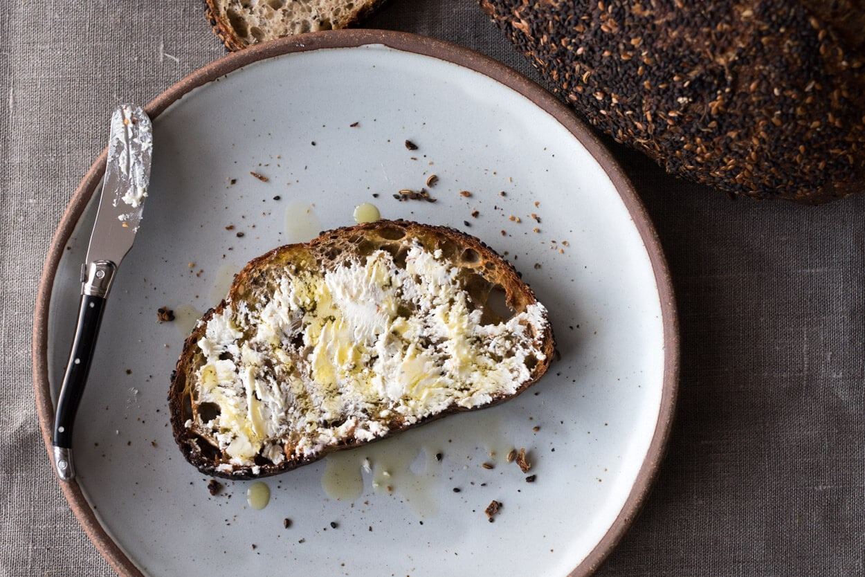 seeded sourdough and goat cheese