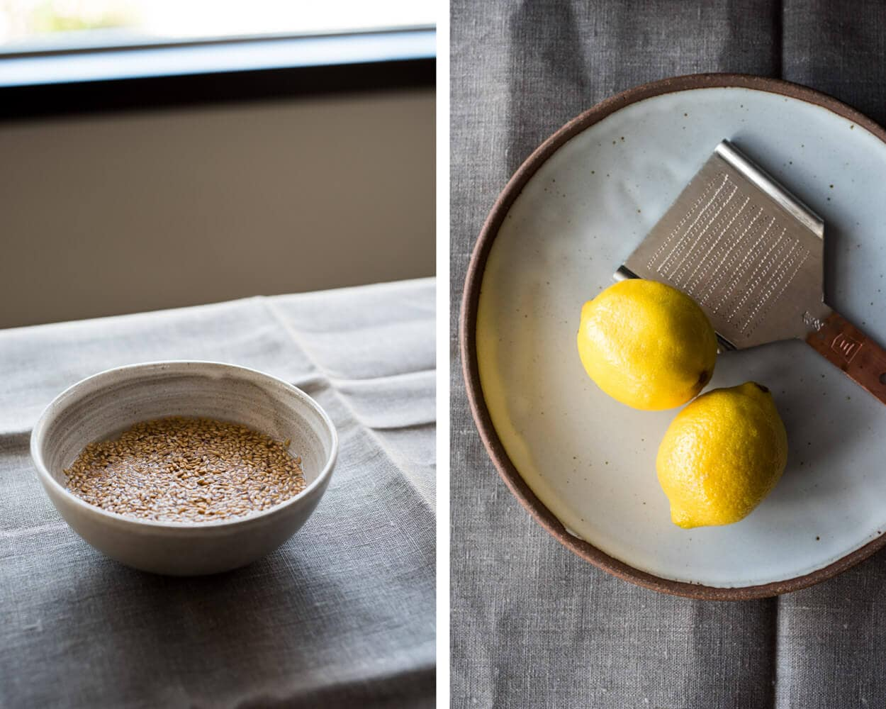 flax, lemons and Japanese oroshigane