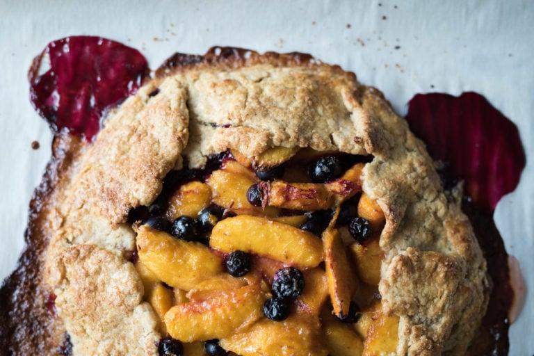 Whole Grain Peach, Blueberry and Lavender Sourdough Galette