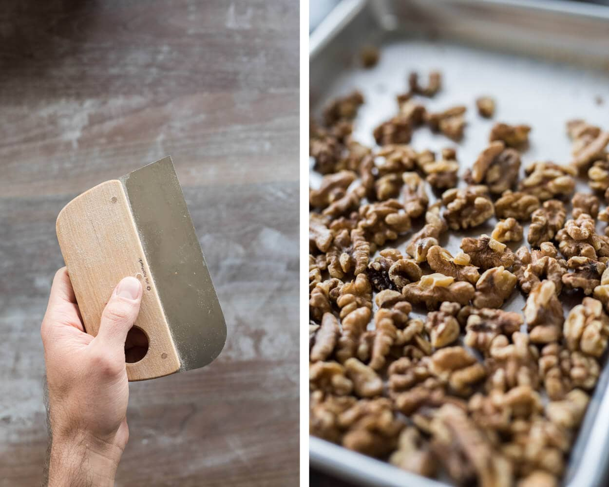 Bench scraper and toasted walnuts