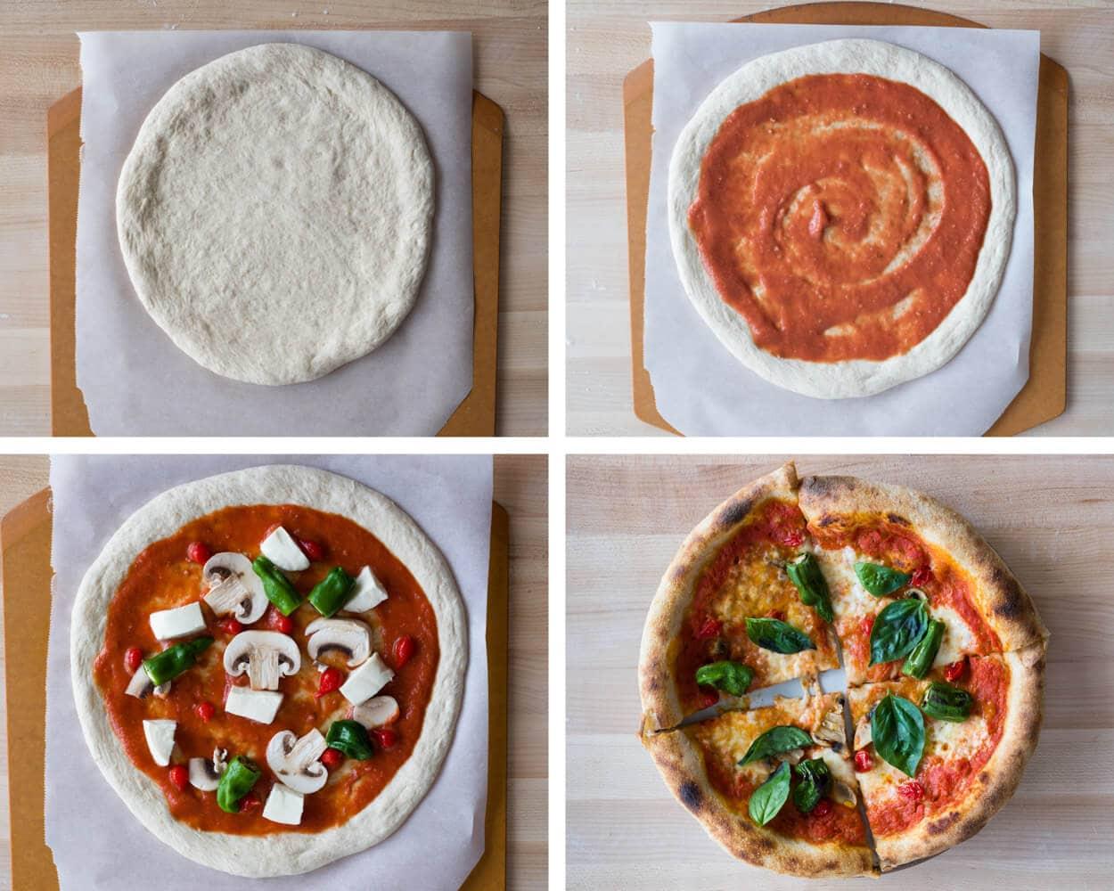 topping sourdough pizza