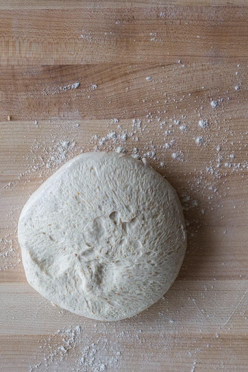 flipped sourdough pizza dough