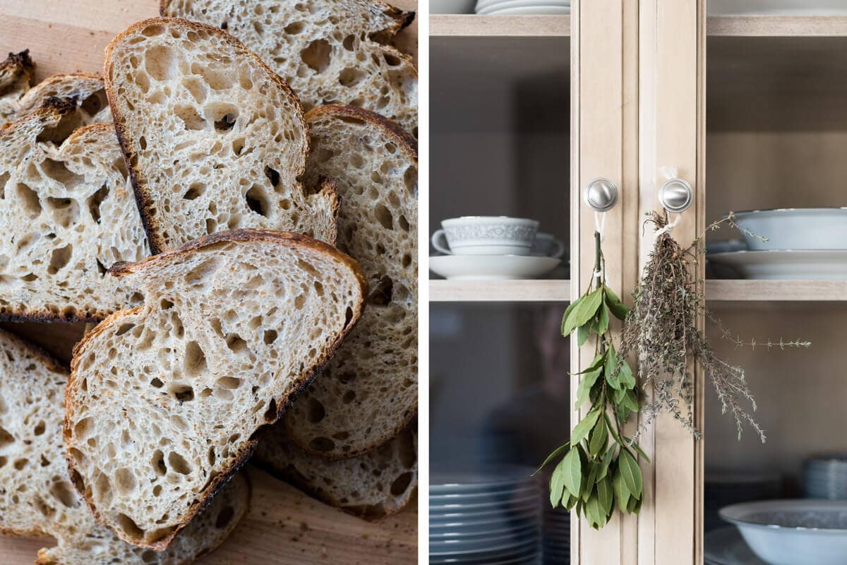 sliced sourdough and hanging herbs