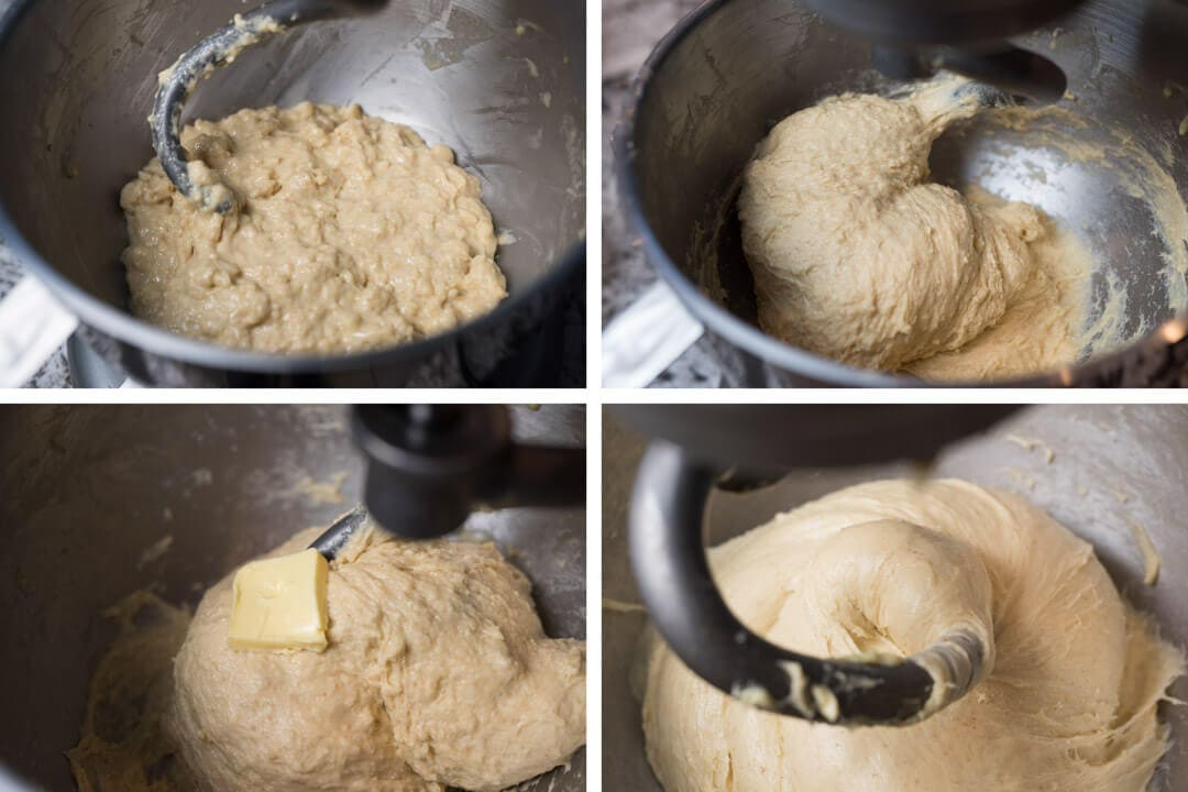 Stages of dough mixing