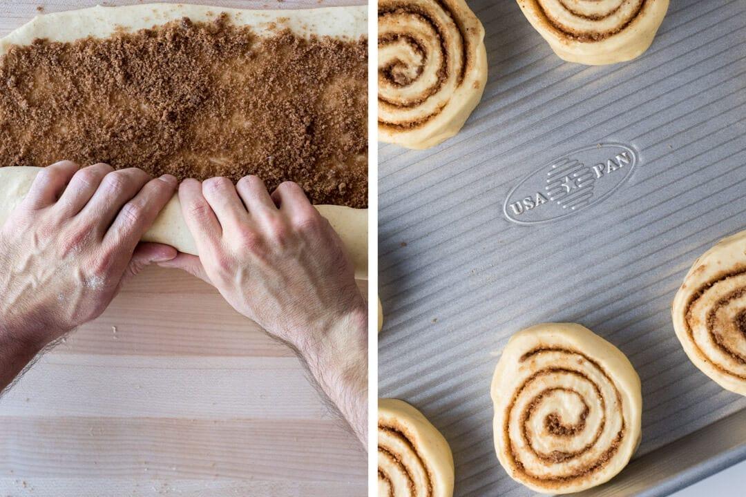 sourdough cinnamon rolls rolling and pan