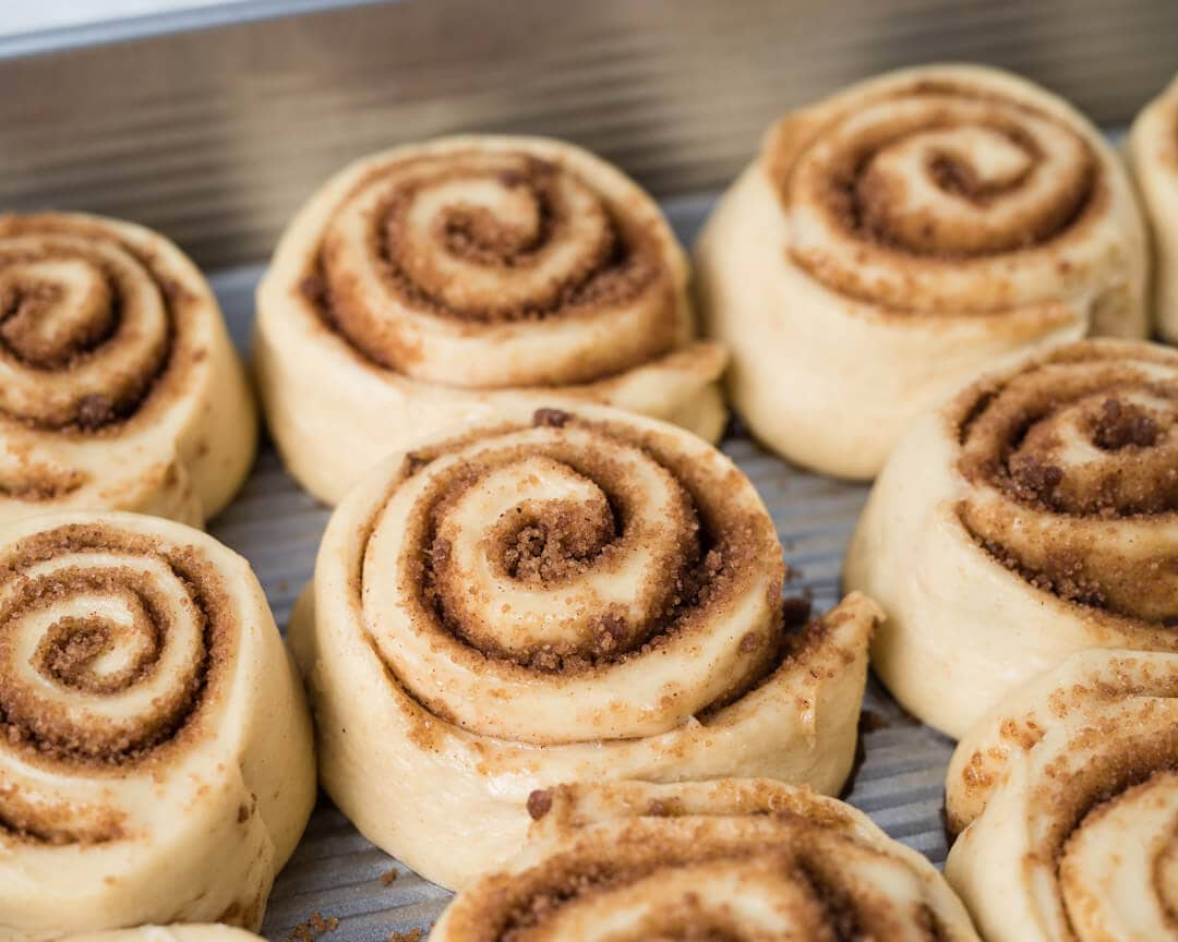 Fully proofed cinnamon rolls
