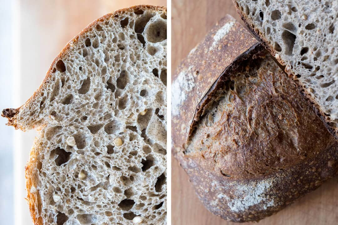 sprouted buckwheat sourdough crust and crumb