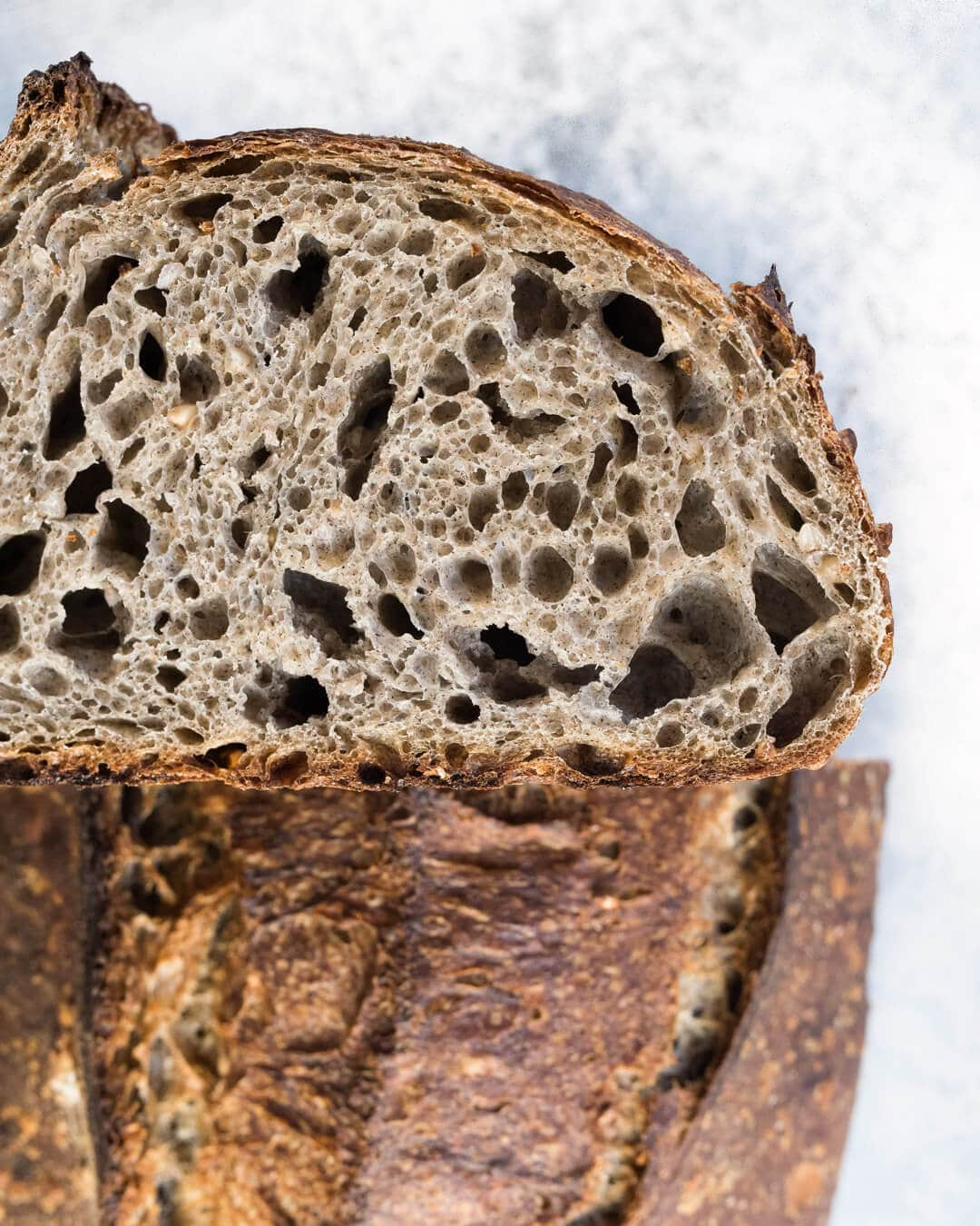 Sprouted Buckwheat Sourdough Crumb and Crust