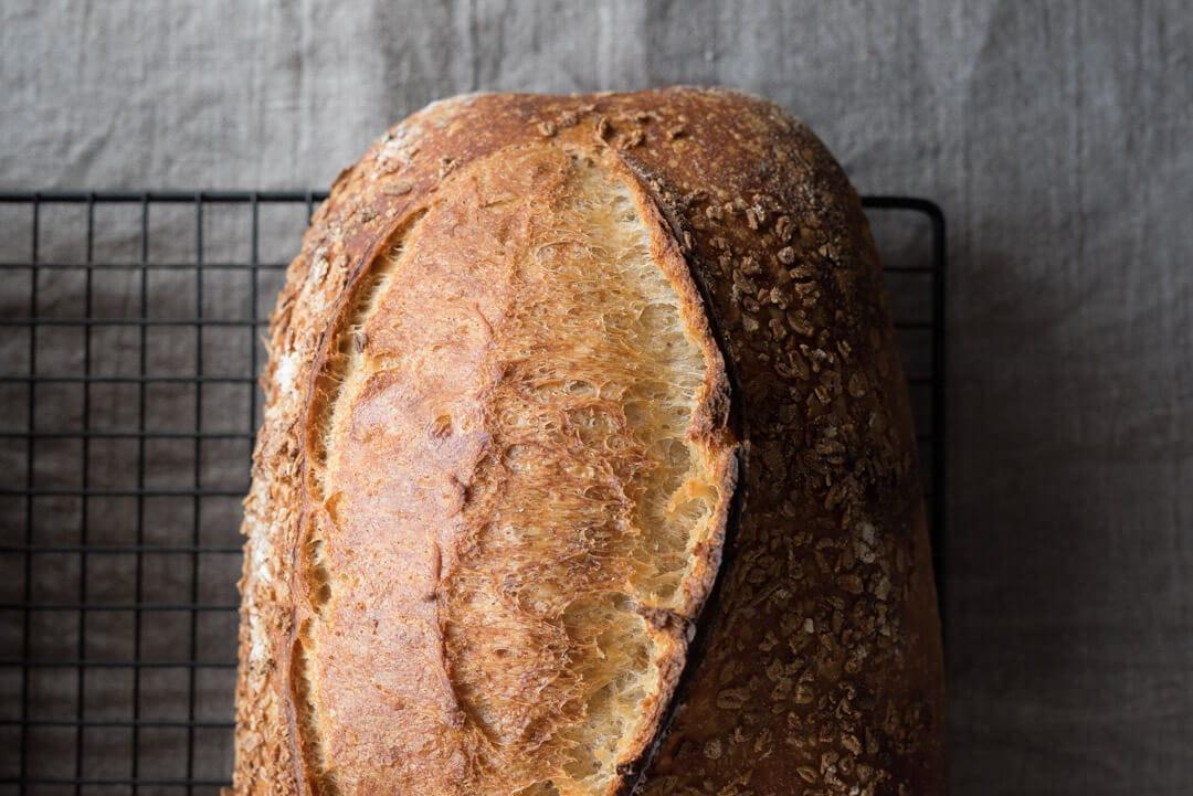 Bread crust in moody light