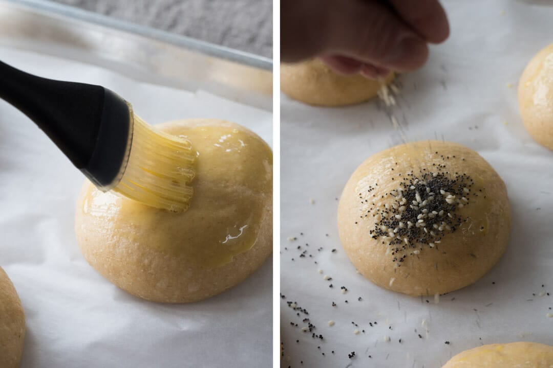 Topping with white and black sesame seeds