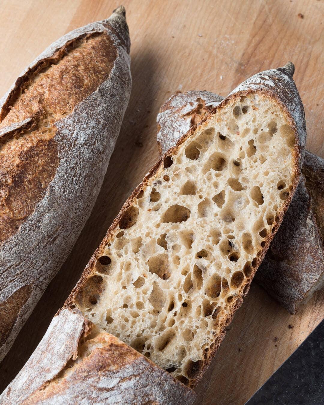 Baguette sliced open showing crumb