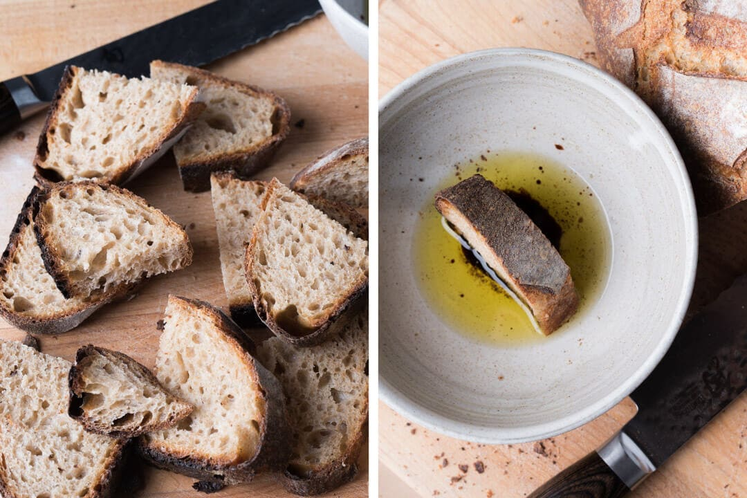 Dunking bread in olive oil