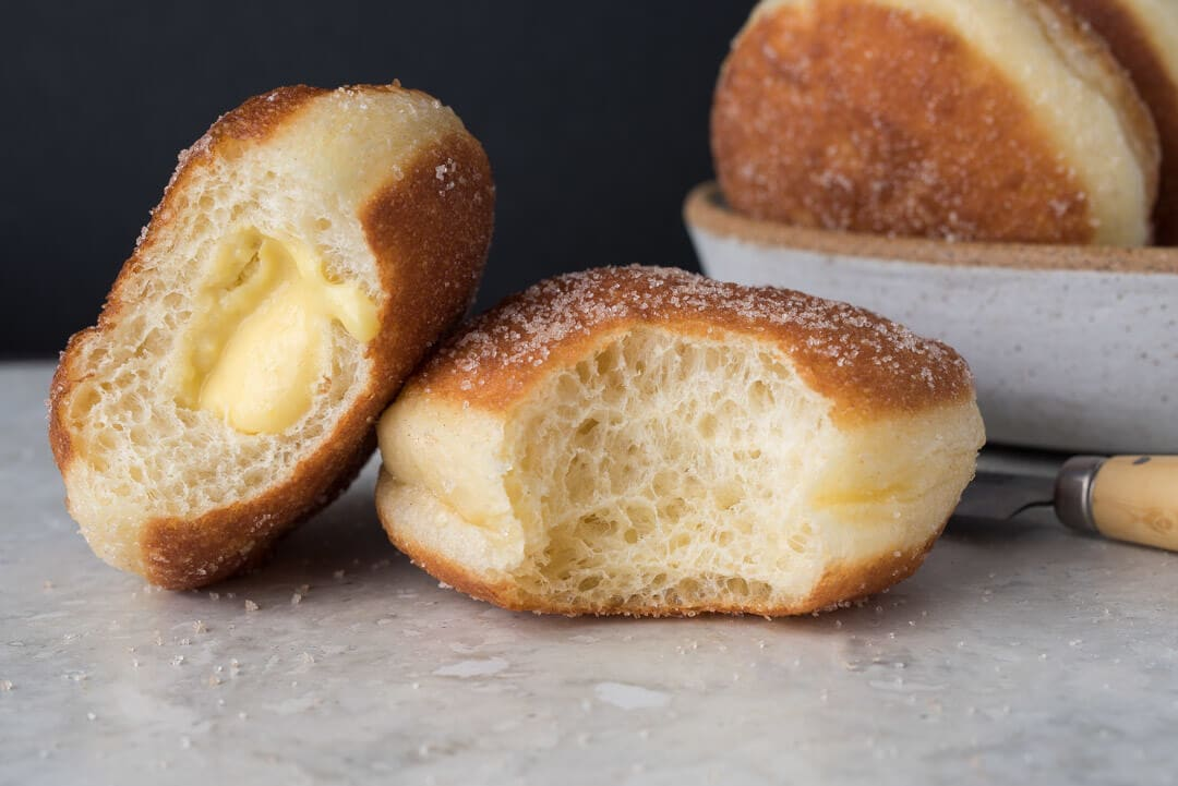 Naturally Leavened Bomboloni (Doughnuts) via @theperfectloaf