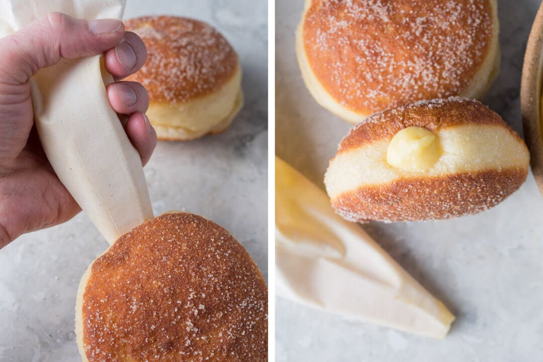 Filling doughnuts with pastry cream