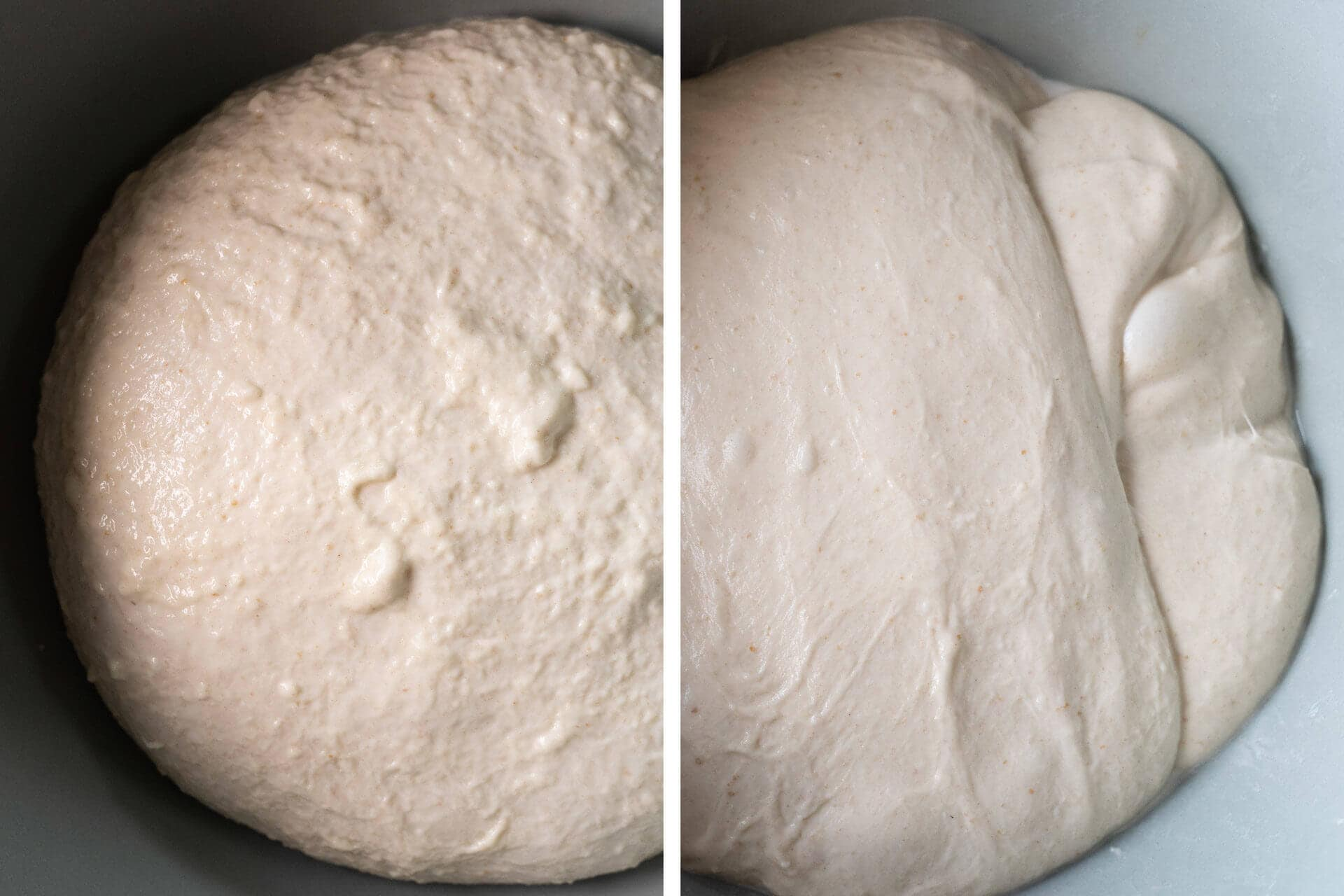 Dough at the beginning and end of bulk fermentation