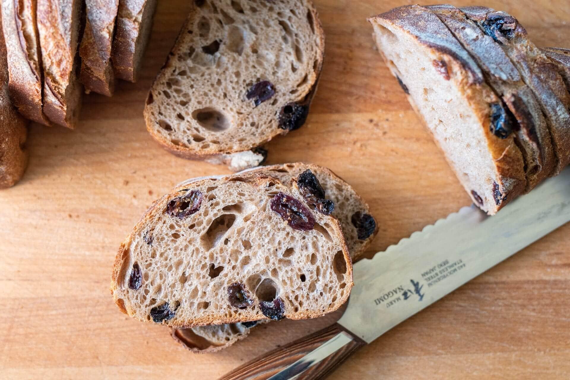 Cinnamon Raisin Sourdough crumb via @theperfectloaf