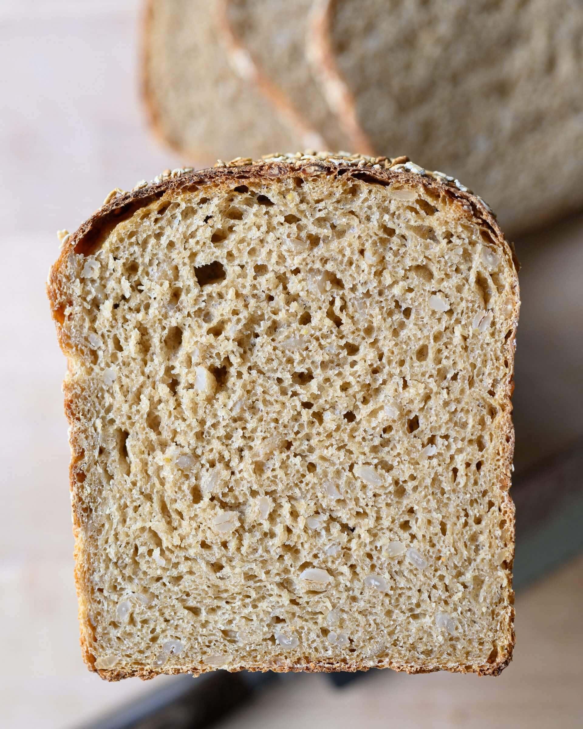 Honey whole wheat and barley pan loaf crumb (interior)